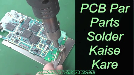 How to solder parts on pcb circuit board of a mobile phone iphone smartphone