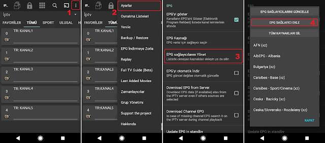 IPTV Extreme uygulaması EPG ( Elektronik Program Rehberi ) eklemek