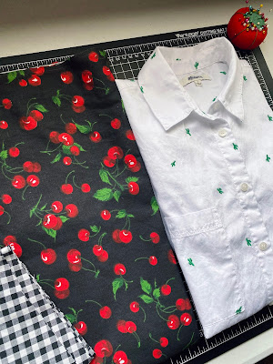 cherry print cotton fabric and checkered gingham and madewell button down shirt