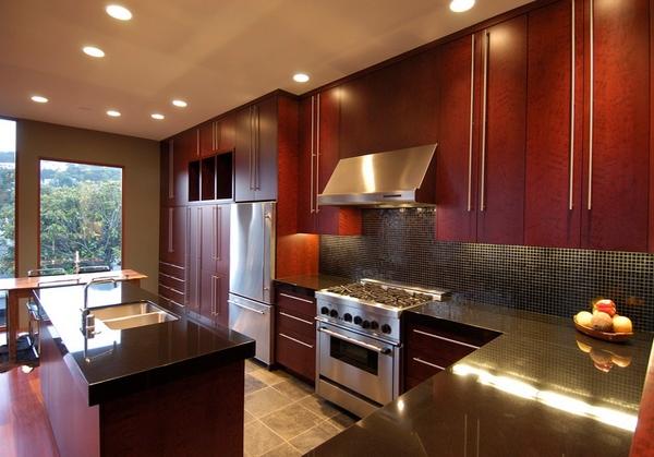 Desain Dapur Modern Warna Merah