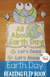 Earth Day Flip Book- reading, comprehension, science, and writing activities for hands-on learning for primary kids