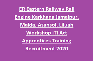 ER Eastern Railway Rail Engine Karkhana Jamalpur, Malda, Asansol, Liluah Workshop ITI Act Apprentices Training Recruitment 2020 1401 Govt Jobs