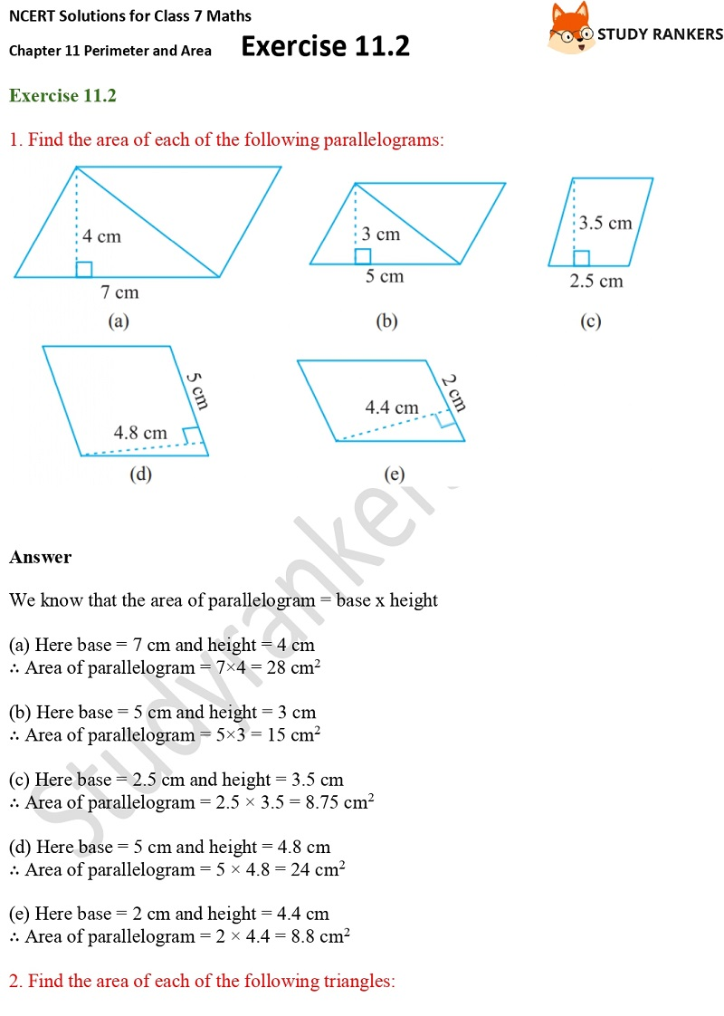 NCERT Solutions for Class 7 Maths Ch 11 Perimeter and Area Exercise 11.2 1