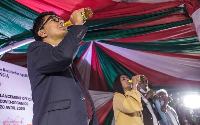 Madagascar's President Rajoelina drinking CVO