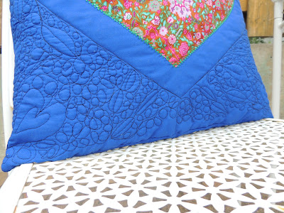 free motion quilting hearts leaves cushion cover