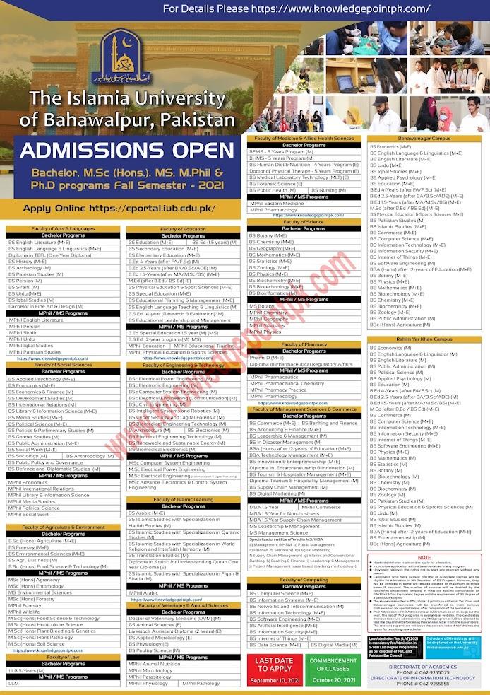 The Islamia University of Bahawalpur IUB  Admissions Open Fall Semester 2021 All Program - Apply Online