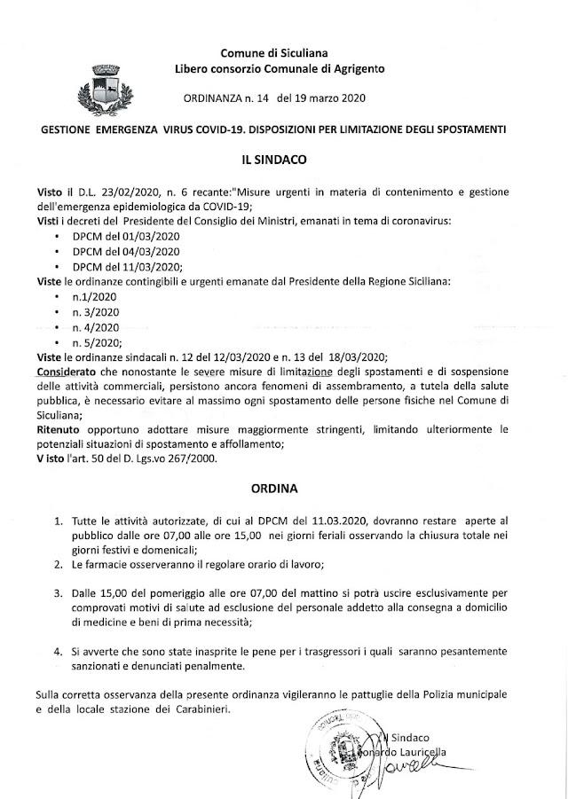 EMERGENZA COVID-19 ORDINANZA DEL SINDACO