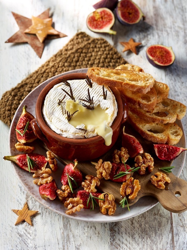 Baked Figs, California Walnuts and Camembert by Claire Justine featured at Pieced Pastimes