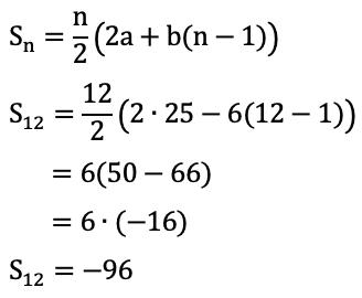 Diketahui barisan aritmetika 25, 19, 13, 7, …. Jumlah 12 ...