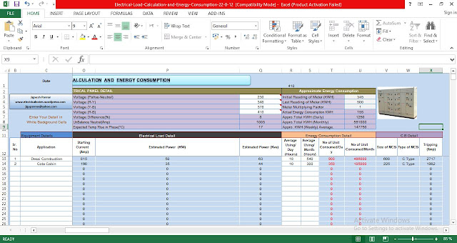 Download Electrical Load Calculation and Energy Consumption Excel Spreadsheets