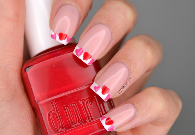 Valentines Day Heart French Manicure Nail Art
