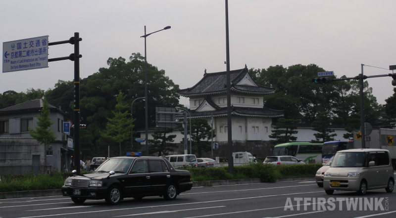nijo castle Kyoto outside view cars taxi