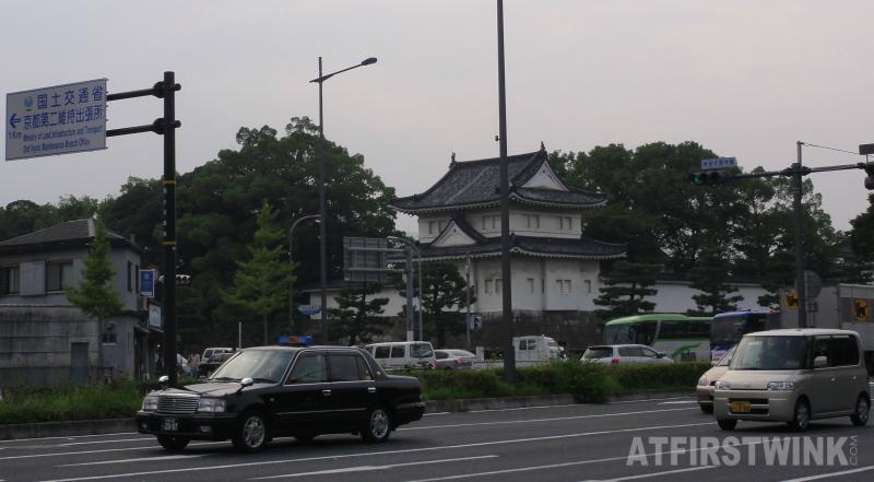 nijo castle Kyoto outside view cars taxi