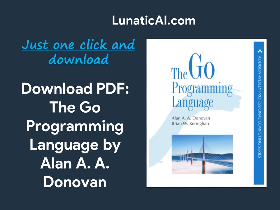The Go Programming Language Alan Donovan PDF