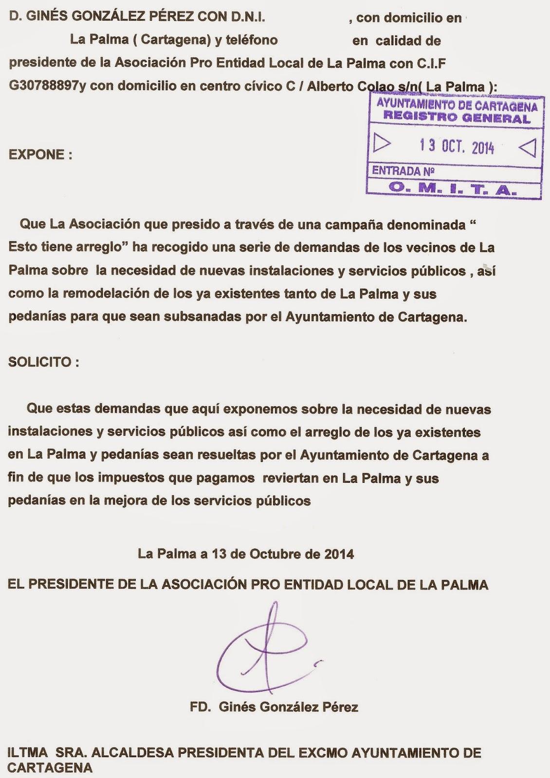 La Palma Cruce De Caminos Instancia En El Registro