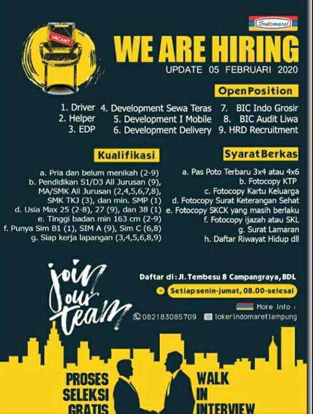 Indomaret Lampung - We Are Hiring - Update Februari 2020 - Open Position: Driver, Helper, EDP, Developmenr Sewa Teras, Development I Mobile, Developmen Delivery, BIC Indo Grosir, BIC Audit Liwa, HRD Recruitment - @lokerindomearetlampung