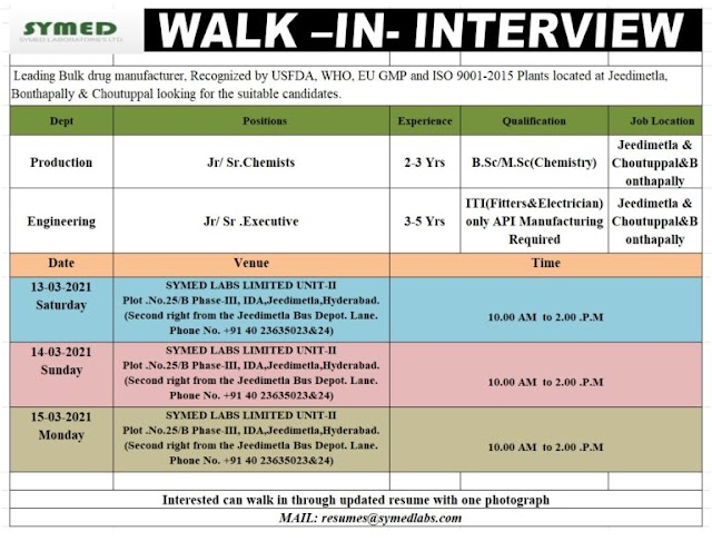 Symed Labs | Walk-In interview for Production/Engg on 13, 14 & 15th Mar 2021
