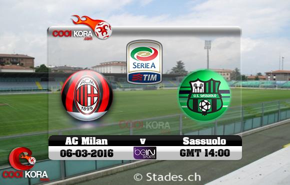 مشاهدة مباراة ساسولو وميلان اليوم 6-3-2016 في الدوري الإيطالي