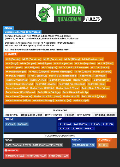 Hydra Tool Qualcomm Module v1.0.2.78 [06.04.2021] - Xiaomi Mi Account Without Relock !!! WHAT IS HYDRA TOOL? POWERFUL ADVANCED COMPLETE This is the result of the combination of ideas based on years of research and experience in mobile solutions development.  Our main goal is to provide and give users the quality and best solutions in the market.  Online updates for loaders, models, and etc. without downloading the whole package every time a new version will be released.  The software will alert you if a new version is uploaded to the server.(*auto-download latest updates)   We provide forms in the software to submit errors for us to fix immediately. You can also submit requests/suggestions, we will be grateful if you do this.     Full-Featured of Qualcomm Module   Write Firmware  Auto/Raw XML Select  Manual raw.xml and patch0.xml select Write Dump *.bin Firmware Asus Raw Firmware Write at EDL Mode Huawei UPDATE.APP Firmware Write at EDL Mode Nokia NB0 Firmware Write at EDL Mode Fastboot Direct Protocol Write XML Firmware Remove FRP (Factory Reset Protection)  EDL QdLoader Mode (Auto, Zero Wipe, Erase Safety Tag, Vivo Force Erase Methods) Fastboot Mode (Need device bootloader unlocked) ADB Mode (Device USB Debugging Should be enabled) FTM Mode (This option for ZTE Models) Xiaomi Mi Account  Remove Mi Account [Erase Method] Remove Mi Account [Patch Method] Remove Mi Account [Erase Method] + FRP Restore Mi Account Remove FindDevice  Disable Mi Account [ADB Mode] Partitions Operations - Service Tool  Backup Security/EFS (EDL Mode, ADB Mode) Write Security/EFS (EDL Mode, ADB Mode) Reset/Wipe Security/EFS (EDL Mode, ADB Mode, TWRP Mode) Backup Firmware  (EDL Mode) Backup Firmware Except Userdata (EDL Mode) Full Erase eMMC Chip (EDL Mode) Full Erase UFS Chip (EDL Mode) Full Read Dump (EDL Mode) Full Write Dump (EDL Mode) Factory Reset (Format)  EDL QdLoader Mode (Format Safe, Zero Wipe, Erase Safety Tag, Vivo Force Erase Userdata, Rebuild Userdata Mode) Fastboot Mode (Devi