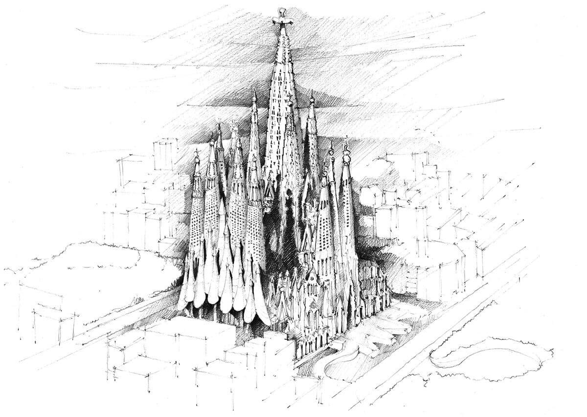 07-Sagrada-Familia-Barcelona-Spain-Adelina-Popescu-Architecture-Drawings-and-Interior-Design-www-designstack-co