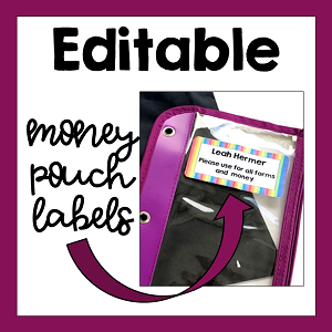EDITABLE Labels for Money Pouches