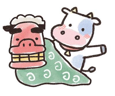 獅子舞と牛のイラスト(丑年)