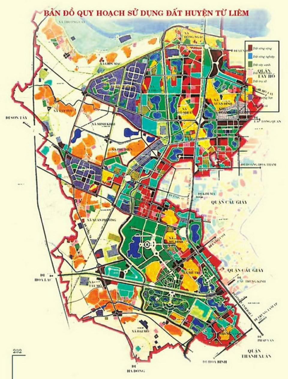 Bản đồ quy hoạch sử dụng đất của Từ Liêm