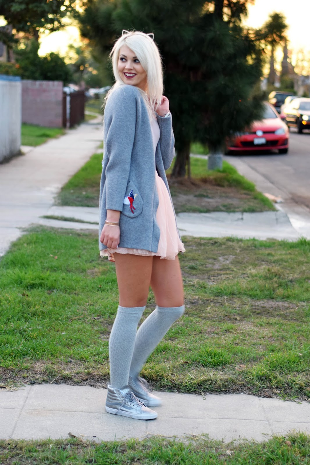 stylewe, cardigan, over knee socks, over knee, german blondy