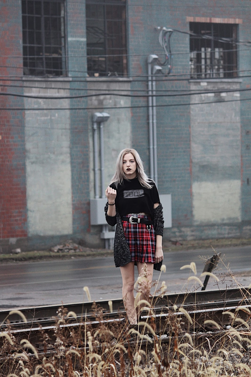 grunge goth plaid skirt and band shirt