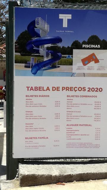 Tabela de Preços das Piscinas das Taipas