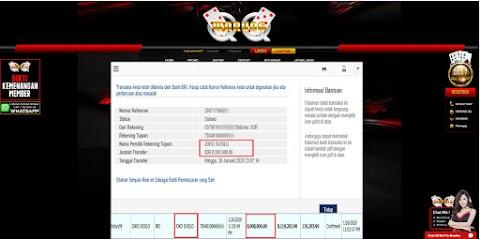 Selamat Kepada Member Setia WARUNGQQ Withdraw RP 8.000.000