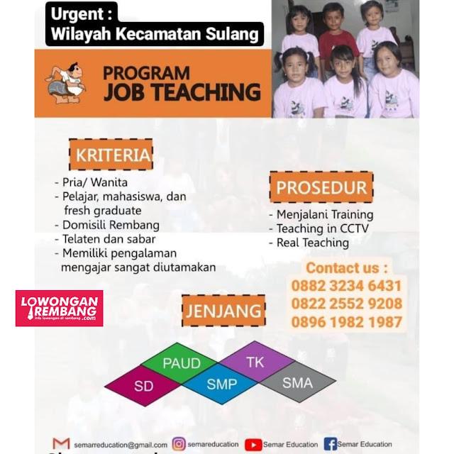 Lowongan Kerja Tentor Guru Pendidik Bimbingan Belajar Semar Education Wilayah Kecamatan Sulang Rembang