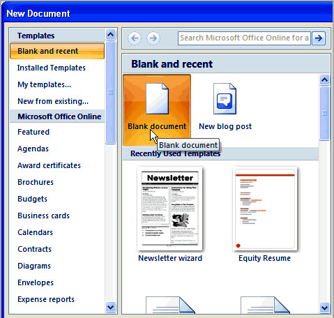 Image of Create New Document in Word 2007