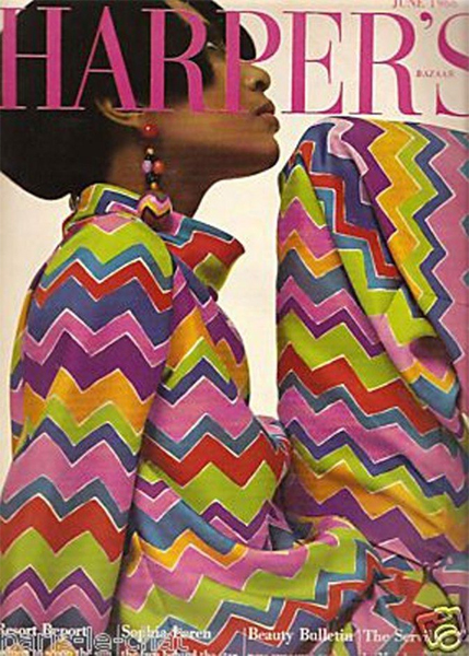 image of Black supermodel Donyale Luna on the cover of Harper's in 1965, wearing a colorful chevron dress
