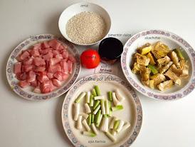 ingredientes arroz con lomo, alcachofas y ajos tiernos