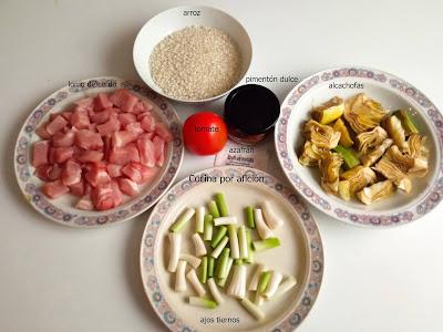 Arroz con lomo, alcachofas y ajos tiernos. Ingredientes.
