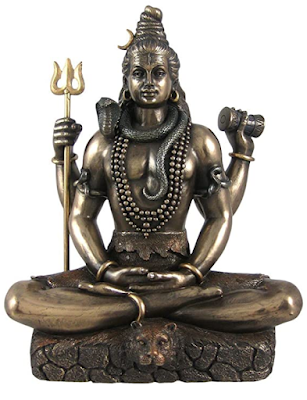Collectible India Lord Shiva Cold Cast Bronze Idol in padmasan sitting Position, Sculpture