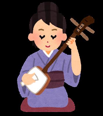 三味線を弾く人のイラスト(女性)