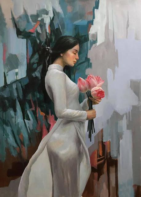 tranh thiếu nữ áo dài