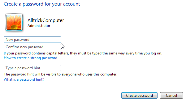 memasukkan password user account