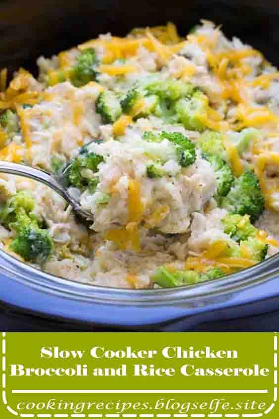 4.8 ★★★★★ |  Easy Slow Cooker Chicken, Broccoli and Rice Casserole with cheese! Cheesy and creamy and made in the crock pot with healthy ingredients! One of our favorite easy recipes to make ahead, add this one to your list of crockpot meals! #Healthy Recipes #easy #crockpot #chicken