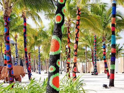 Carol Hummel - Yarn Bombed Palm Trees at Phish Riviera Maya 2017