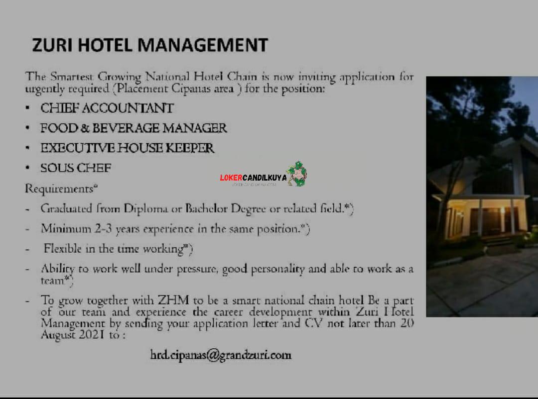 Lowongan Kerja Zuri Hotel Cipanas