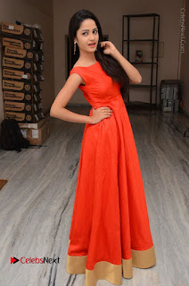Telugu Actress Divya Nandini Stills in Orange Sleeveless Gown at Chennai Chaitrama Movie le Launch Event  0124.JPG