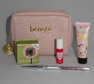 Review Benefit Dandelion blush, The POREfessional Pearl, Precisely My Brow Pencil, Lovetint