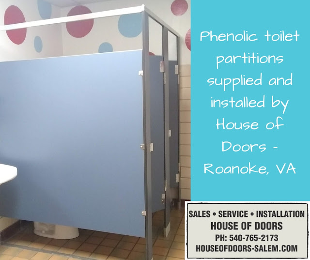 Phenolic toilet partitions supplied and installed by House of Doors - Roanoke, VA