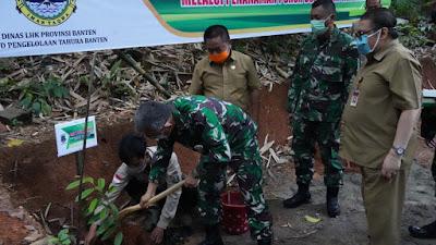 DLHK Banten Bersama  Danrem 064/MY, Tanam Durian dan Jahe Merah Di Tahura Banten