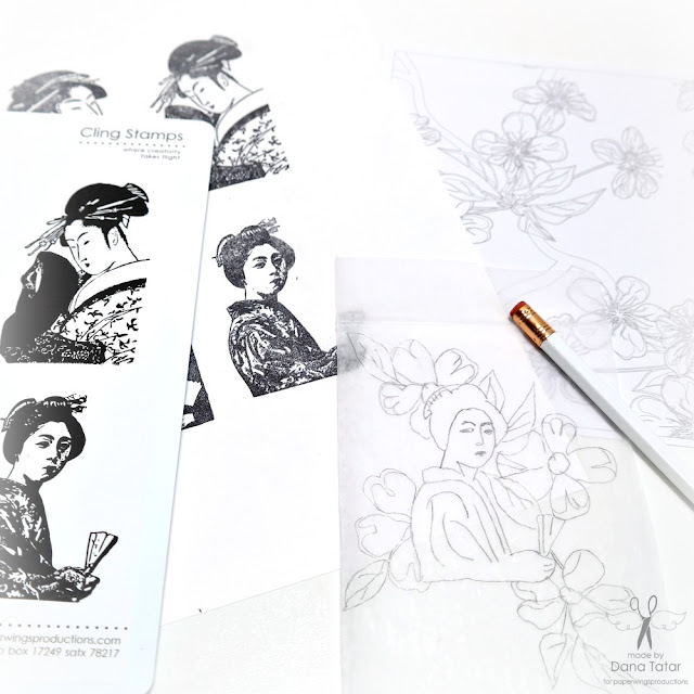 How to Create Line Drawings from Stamped Images by Dana Tatar for Paper Wings Productions