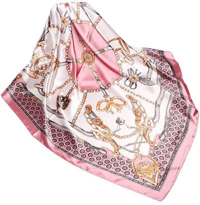 Pink Designer Silk Satin Scarves