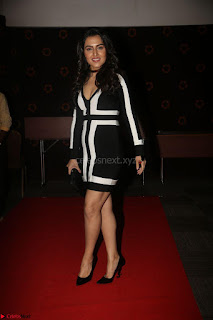 Ananya Soni in a Deep neck white blackl Dress at Shamanthakamani pre release function ~  Exclusive 066.JPG